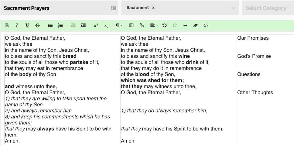 Sacrament Prayer Comparison