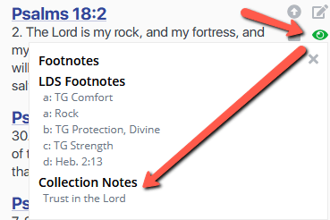 Access collection notes from verses