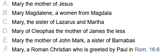 The 6 Mary's in the New Testament
