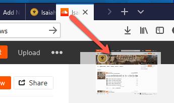 Drag browser tab